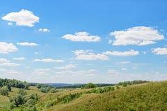 Paisagem com floresta, céu com nuvens Imagem de Stock