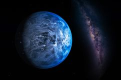 Paisagem com galáxia da Via Látea Opinião da terra do espaço com leite fotografia de stock royalty free