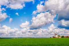 Paisagem com grama verde e moinho de vento Foto de Stock