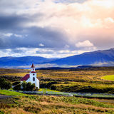 Paisagem com igreja Fotos de Stock Royalty Free
