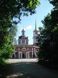 Paisagem com a igreja ortodoxa Imagem de Stock