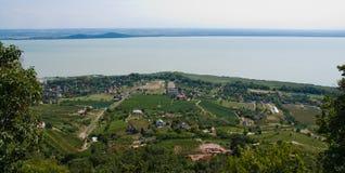 Paisagem com lago Balaton Fotos de Stock Royalty Free