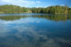 Paisagem com lago da floresta Foto de Stock