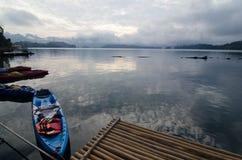Paisagem com lago e a montanha nevoentos Imagens de Stock Royalty Free