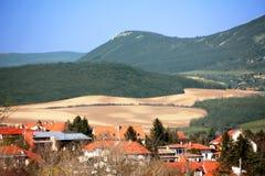 Paisagem com montanha, montes, casas Imagem de Stock Royalty Free