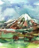 Paisagem com montanhas, céu da aquarela ilustração stock