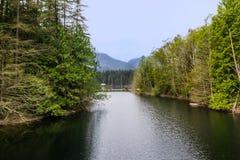 Paisagem com montanhas e lago Imagens de Stock