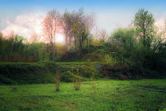 Paisagem com monte verde Imagem de Stock Royalty Free