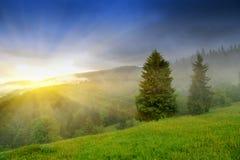 Paisagem com névoa nas montanhas Foto de Stock Royalty Free