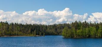 Paisagem com nuvens de cúmulo Imagens de Stock