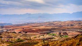Paisagem com o campo da agricultura em torno de Malealea, Lesoto fotos de stock