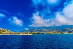 Paisagem com o farol em Alanya Fotos de Stock