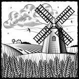 Paisagem com o moinho de vento preto e branco Fotografia de Stock Royalty Free