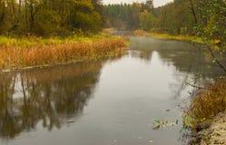 Paisagem com o rio de Vorskla na estação outonal Fotos de Stock