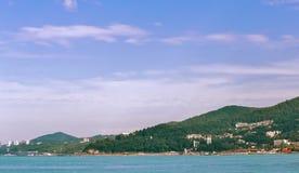 Paisagem com opinião do mar A costa do Mar Negro de Cáucaso Imagem de Stock