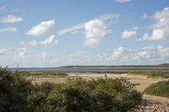 Paisagem com os moinhos de vento em Holland Fotos de Stock
