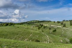 Paisagem com os montes cobertos com a vegetação Foto de Stock
