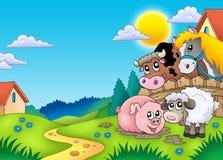 Paisagem com os vários animais de exploração agrícola Foto de Stock