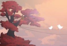 Paisagem com pássaros ilustração royalty free