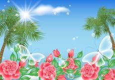 Paisagem com palma e borboletas Fotos de Stock Royalty Free