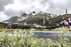Paisagem com planícies e o lago verdes na península de Kamchatka, Rússia imagem de stock