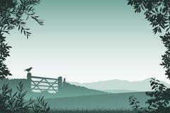 Paisagem com porta da exploração agrícola ilustração do vetor