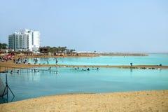 Paisagem com praia do Mar Morto fotos de stock royalty free