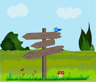 Paisagem com quadro indicador de madeira. Ilustração Stock