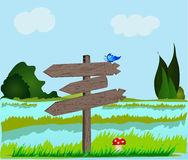 Paisagem com quadro indicador de madeira. Ilustração do Vetor