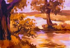 Paisagem do outono com rio ilustração do vetor