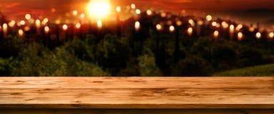 Paisagem com sol da noite Imagens de Stock