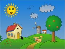 Paisagem com sol feliz Ilustração do Vetor