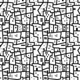 Paisagem com teste padrão preto e branco dos blocos de cidade Fotos de Stock Royalty Free