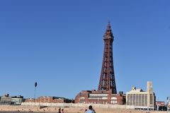 Paisagem com torre Reino Unido de Blackpool Foto de Stock