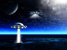 Paisagem com UFO ilustração royalty free