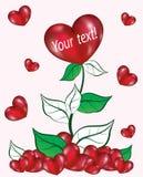Paisagem com uma flor e corações ilustração royalty free