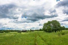 Paisagem com uma vila inoperante Burdovo Imagens de Stock Royalty Free