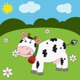 Paisagem com vaca engraçada Foto de Stock Royalty Free