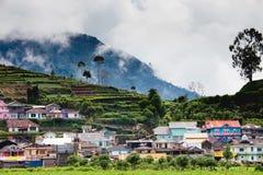 Paisagem com vila, montanhas e névoa Imagem de Stock