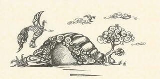 Paisagem com voo dos pássaros ilustração do vetor