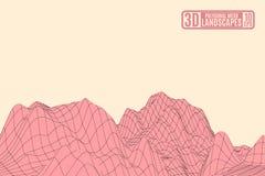 Paisagem cor-de-rosa da montanha em um fundo amarelo Imagem de Stock Royalty Free