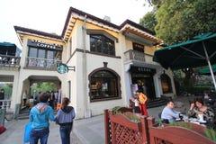 Paisagem cultural do lago ocidental da opinião da rua de Hangzhou Fotos de Stock
