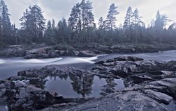 Paisagem da água com floresta e falha Imagens de Stock Royalty Free