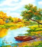 Paisagem da aguarela Barco próximo no rio ilustração royalty free