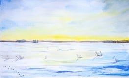Paisagem da aguarela Paisagem bonita do inverno em um campo limpo com traços de neve ilustração do vetor