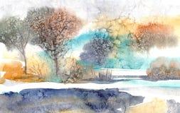 Paisagem da aguarela Manhã na floresta em torno do lago ilustração do vetor