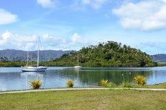 Paisagem da angra de Nakama em Savusavu na ilha de Vanua Levu, Fiji Fotos de Stock Royalty Free