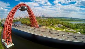 Paisagem da antena da ponte de suspensão de Zhivopisny Imagem de Stock Royalty Free