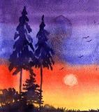 Paisagem da aquarela, árvores Imagem de Stock Royalty Free