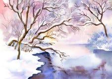 Paisagem da aquarela da paisagem ilustração stock